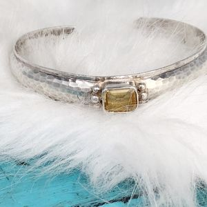Jewelry - Sterling Hammered Cuff Bracelet with Citrine Stone